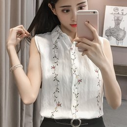 Wholesale Embroidered Sleeveless Shirt Woman - 2018 New Fashion Flower Embroidered Sleeveless Ladies Tops Casual Slim Chiffon Shirt Women Cute Sweet White Blouse Summer Top
