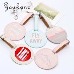 Wholesale luggage name tags - Zoukane Fashion Leather Round Suitcase Luggage Tag Label Bag Pendant Handbag Travel Accessories Name ID Address Tags KC13