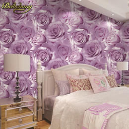 Wholesale Pink Store Clothes - Wholesale-beibehang Thickened waterproof red rose background wall wallpaper living room bedroom beauty salon clothing store shop tapety