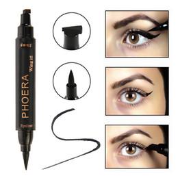 Двойной подводка для глаз онлайн-PHOERA 1pc Thick/Thin Stamp Eyeliner Dual End 2 in 1 Black Lasting Waterproof Eyeliner Antifouling Liquid Pencil Stamp