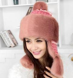 Chapéu de fio de pele de coelho on-line-2018 senhoras inverno dia tricô fio imitação de pele de coelho mongol chapéu equitação earmuffs
