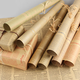 Pasta di paglia online-50 pezzi / lotto Confezione regalo Carta Kraft Roll Vintage Giornale Double Sided Wrap Decor Art per la festa di Natale Materiale creativo