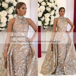 Wholesale Beaded Halter Mermaid Plus Size - Sequined Appliques Mermaid Overskirt Evening Dresses 2018 Yousef Aljasmi Dubai Arabic High Neck Plus Size Occasion Prom Party Dress