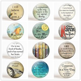 Wholesale Refrigerator Letter Magnets - Inspirational Quotes Refrigerator Magnet Set Fairy Tale Advises Fridge Magnet Letter 25MM 12pcs Glass Dome Kitchen Accessories
