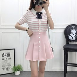 Wholesale women dress skirt wind - students 2018 summer institute wind knitting striped blouse female skirts two-piece suit dress girl outfit vestido clothing set