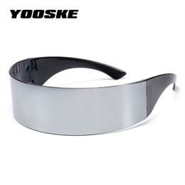 funny sunglasses Promo Codes - YOOSKE Funny Futuristic Wrap Around Monob Costume Sunglasses Mask Novelty Glasses Halloween Party Party Supplies Decoration