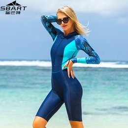 skins clothing Coupons - Women Anti-UV One-Piece Swimsuit Long Sleeve Lycra Wetsuit Swimming Snorkel Scuba Diving Suit Quick Dry Dive Skins Womens Beach Clothes H