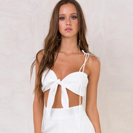 Wholesale V Neck Camisoles - Bandage Crop Top Backless V Neck Camisole Tops Women T Shirt Women Tees Beachwear Sexy Casual New Fashion Spring Free Shipping