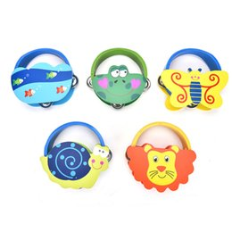 Wholesale Musical Instruments Set Kids - Wholesale- HOT Rattles Cartoon Wooden Percussion Cute Animal Bell Infant Baby Newborn Gift Toys Kids Girls Learning Musical Instrument Toy