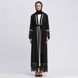 2019 más tamaño maxi cardigans Mujer musulmana de encaje negro Abaya Abierta S-2XL Tallas grandes mujer Maxi Cardigan de manga larga para la venta rebajas más tamaño maxi cardigans