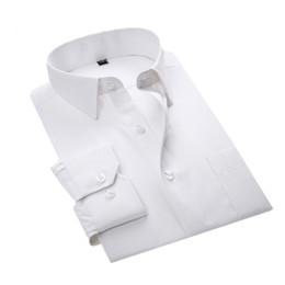 Casual haus kleider online-YJSFG HAUS Marke Männer Shirts Komfortable Langarm Smart Casual Shirts Schlank Solide Baumwolle Weißes Kleid Slim Fit Business