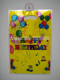 Wholesale Kids Plastic Party Bags - Wholesale- yellow happy birthday party loot bag,plastic gift bag,children kids candy bag