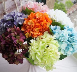 "Wholesale Lighting Wedding Centerpieces - Hydrangea Wholesale Big Flower head 19cm 7.5"" Silk White Hydrangeas Bouquet for Wedding Centerpieces Home Party Decorative GA119"