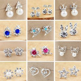 Wholesale earring pearls - Fashion 31 Styles Crystal Rhinestone Faux Pearl Studs Alloy Earrings Dangle Sliver Plated Chandlier for Women