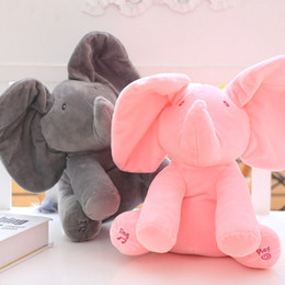 Wholesale Dancing Plush - 11.7inch Flappy Peek A Boo Muscial Animalted Plush Elephant Toy Singing Dancing Stuffed Elephant Toy Eletronical Animal Gift for Girls Boys