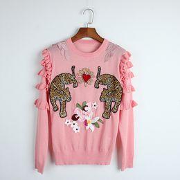 Wholesale pink ruffle sweater - 2018 New Spring Autumn Heavy Heart Flower Double Leopard Patch Shoulder Wood Ear Sweater Thin Long Sleeve Knit Sweater Women Pullovers