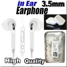 Wholesale Earphones Mic Iphone Retail - For S6 S7 S8 Earphone Earphones Headphone Earbuds for iPhone 5 6 Headset for Jack In Ear wired With Mic Volume Control 3.5mm With Retail Box