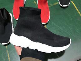 Wholesale top sport shoes designer brands - 2018 Size 36-45 Designer Luxury Brand Sock Shoes Black Red Paris Slip-on High Top Men Women Casual Flat Shoes Sneaker Sport Shoes