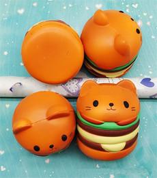 decoraciones de teléfonos móviles Rebajas Mini Squishy PU Squishy hamburguesa colgante Cute Cat hamburguesa Modelo Hanging Drop teléfono móvil encantos decoración del hogar Fidget Squishies encantos