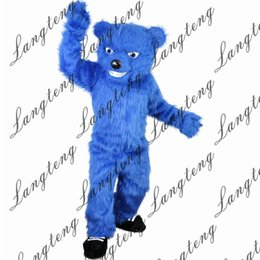 2019 traje de oso azul 2018 Nueva alta calidad Azul largo peludo Oso Mascota disfraces para adultos circo navidad traje de Halloween traje de lujo traje envío gratis rebajas traje de oso azul