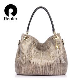 REALER Brand Handbag Women Genuine Leather Bag Female Hobos Shoulder Bags  Messenger High Quality Leather Tote Bag Crossbody 0b66309a3b627