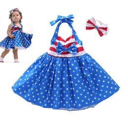 vestido crianças unidas estados Desconto Meninas do bebê Estrela Vestido Listrado Verão Crianças Estados Unidos Dia da Independência Estilingue Sem Encosto Vestido de Princesa Crianças Headband Roupas HH7-1142