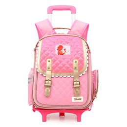 Wholesale Wheels School Bags - 2017 Factory Outlet Girls princess Bow 3D School Bags with Wheels Boys School Backpack Trolley Bag Children Travel Bags