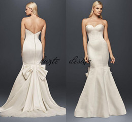 Wholesale Vintage Fishtail Dresses - Truly Zac Posen Seamed Satin Wedding Dress With big bow 2018 Modest Strapless Covered Button Mermaid Fishtail Bridal Gown Wear
