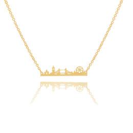 Londres pingentes on-line-10 pçs / lote Charme Da Paisagem Da Cidade Do Vintage London Skyline Colar de Aço Inoxidável Paisagem Pingente de Jóias Moderna Minimalista Collares