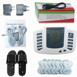 Chinelos estimuladores elétricos on-line-Estimulador elétrico Corpo Inteiro Relaxar Músculo Digital Massager Pulso DEZENAS de Acupuntura com Terapia Chinelo 16 Pcs Eletrodo Pads