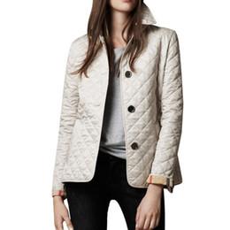 Manteaux de coton pour femmes manteaux en Ligne-Veste Femme Printemps Automne Manteau Femme Outwear Manteau Veste Coton Rembourré Mince Vêtement Femme Plaid Quilting Padded Outer