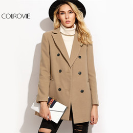 Wholesale Double Breasted Coat Camel - COLROVIE Camel Double Breasted Winter Coat Women Elegant Brief Lapel Long Sleeve Coats 2017 Autumn Welt Pocket Vintage Warm Coat