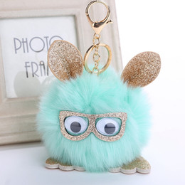 Wholesale owl toys - New decor accessories owl pendant imitation fox fur ball key holder owl hair ball pendant free shippinh