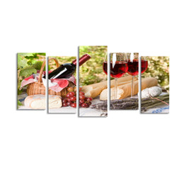 Wholesale Wine Canvas Art Painting - 5 pieces high-definition print Red wine canvas painting poster and wall art living room picture HJ-001