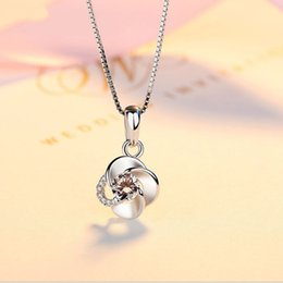Wholesale Diamond Encrusted - Women's Silver Necklace Diamond-encrusted Rotary Pendant Japan and South Korea Edition Simple Clavicle Silver Chain 925 Silver Accessories