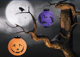 lanterna di carta fantasma Sconti Halloween Lantern Pumpkin Lanterna di carta appesa lanterne incandescente Fantasma Festival Bar Decorazioni di partito Lanterne di carta