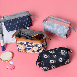 Wholesale rectangle cube - 4 styles Flamingo Flower Print Cosmetic Bag Storage Pouch Travel Toiletry Make Up Container Waterproof Portable Makeup Bag Cube Purse FFA434