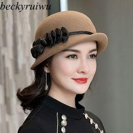 a9eb9e03963 Beckyruiwu Female Luxury Headwear Lady Banquet Formal Leather Bowknot  Ribbon Fedora Hats Women Asymmetric Pure Wool Felt Hat