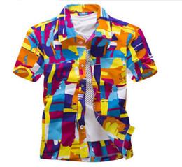 Wholesale mens army dress shorts - Fashion Men Hawaii Shirt Beach Floral Shirt Tropical Seaside Hawaiian Shirt Quick Dry Brand Camisas Mens Dress Shirts Big Size