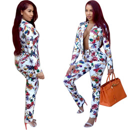 Wholesale Popular Suits - Popular casual fashion, European and American women's printed suits, tight-legged trousers, women's professional jackets