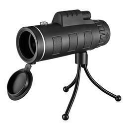 Trípode monocular online-40X60 BAK4 Telescopio monocular HD Mini lente monocular completamente multi-revestido Caza al aire libre Camping Scopes Con Clip de teléfono Trípode