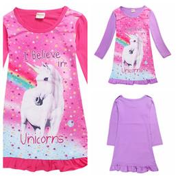 Wholesale t shirts lace wholesale printing - Girls Unicorn Print Dress Long Sleeves Medium Length T-shirt Skirt Baby Kids Children Dress Unicorn Cartoon Nightgown Dress 2 Color AAA109