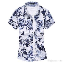 0a75387e469 2017 Summer Men s Short Sleeve Shirt Chinese Style Fashion Print Shirts Men  High Quality Slim Fit Mens Casual Flower Shirt 6XL YH-123