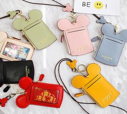 Wholesale cute wallets for girls - Catoon Cute ID Card Holder Name Card Credit Card Bag Neck Strap Bag Wallet Coin For Girl DDA223