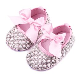 Wholesale 12 Months Girl Red Dress - New Baby Girl Dress Shoes Shinning Pearl Cloth Big Bowknot First Walker Toddler Shoes Elastic Band Anti-slip Soft Sole 0-12 Months B11