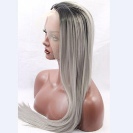 Fahion Ombre Gray Synthetic Lace Front Wig Glueless Silky Straight Two Tone Natural black Sliver Grey Heat Resistant Hair Women Wigs Coupon