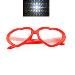 2pcs Packs Hony 3D Red Heart Shape Diffraction Party Rave Prism Occhiali a forma di cuori da vedendo gli occhiali all'ingrosso fornitori