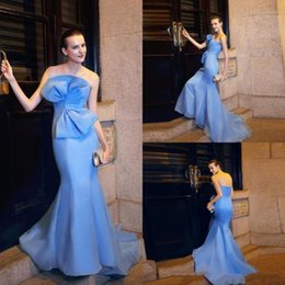 classic big dresses 2018 - Light Sky Blue Mermaid Evening Dresses With Big Bow Strapless Backless Prom Gowns Cheap Red Carpet Formal Dress