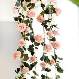 bolas de plástico grandes Rebajas Rosa flores artificiales de bricolaje de seda falso rosa flor hiedra vid hojas verdes 180 cm decoración de la boda en casa colgando guirnalda de navidad