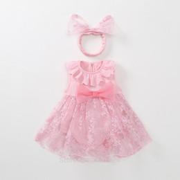 vestidos de bebé rojo recién nacido Rebajas 1 año de edad trajes recién nacidos tutú tulle bebé niña vestido de verano rojo rosa infantil princesa vestidos bebé vestido Y18102007